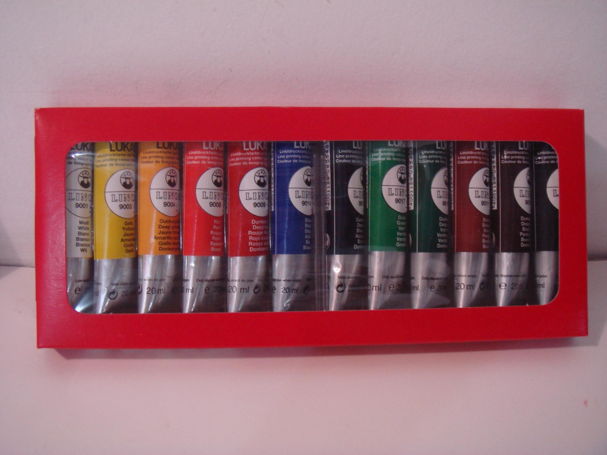 Kit tinta gravura Linol 12 cores 20 ml