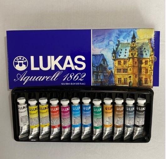 Kit 12 cores aquarela em tubo Lukas 1862