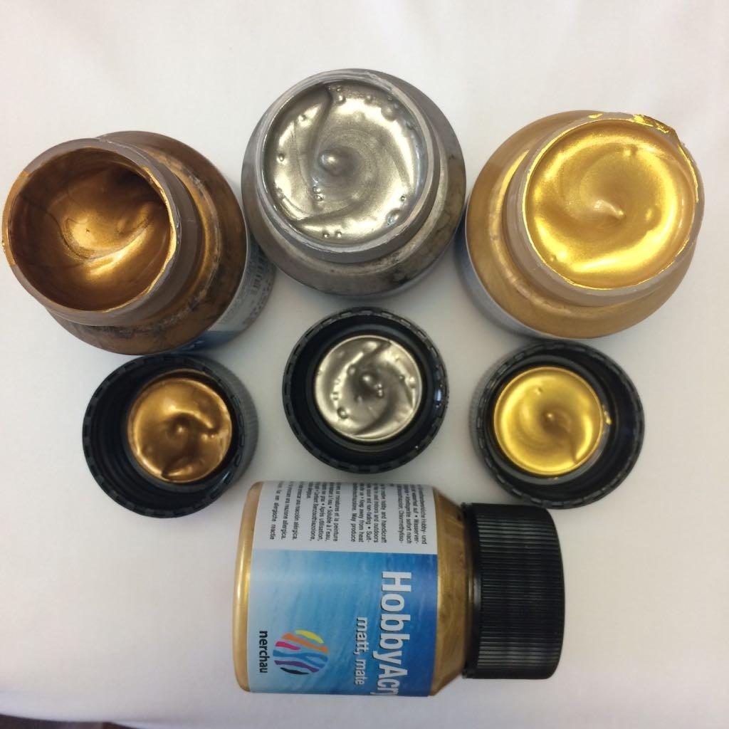 Tintas metálicas - dourado / ouro / prata / bronze / cobre (acrilica)