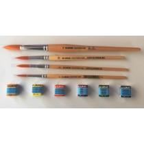 Kit Aquarela - 6 pastilhas Lukas Studio e 4 pincéis