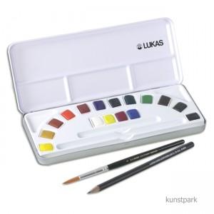 Estojo 16 cores aquarela Lukas Studio com pincel
